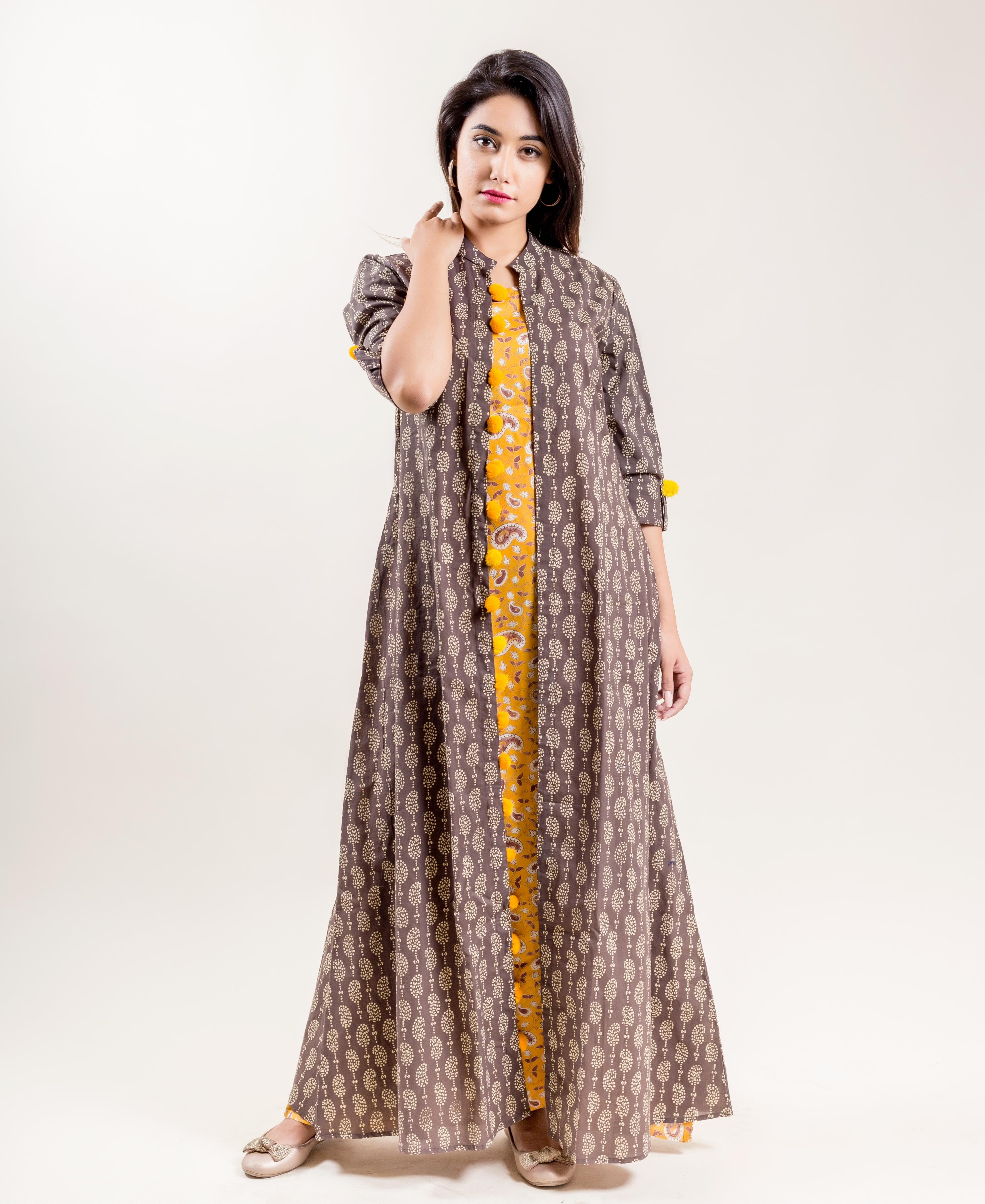 Brown and Mustard Hand Block Printed Double Layered Long Jacket Dress