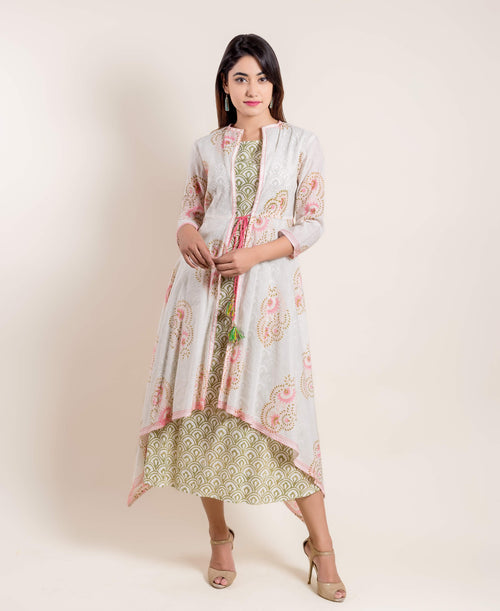 Fern Green Hand Block Printed Indo Western Dress With Detachable Chanderi Jacket