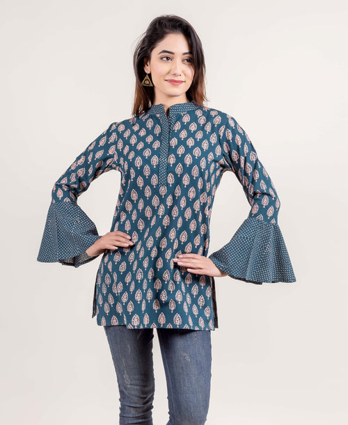 Ensemble Accomplishment Hand Block Printed Bell Sleeved Short Kurti