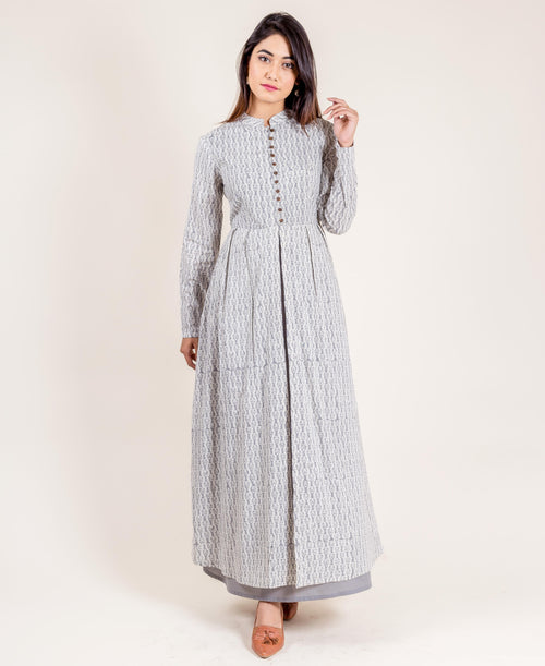 Grey Printed Cotton Layered Long Dress