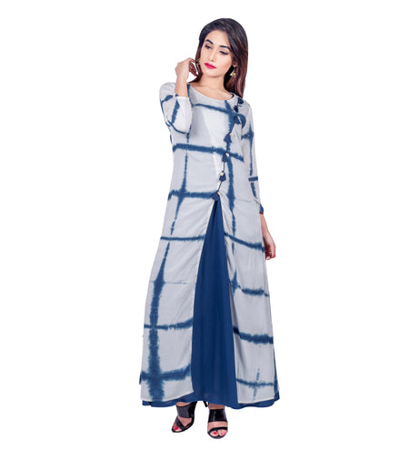 Blue Tie And Dye Double Pleated Mandarin Collar Short Kurta Top