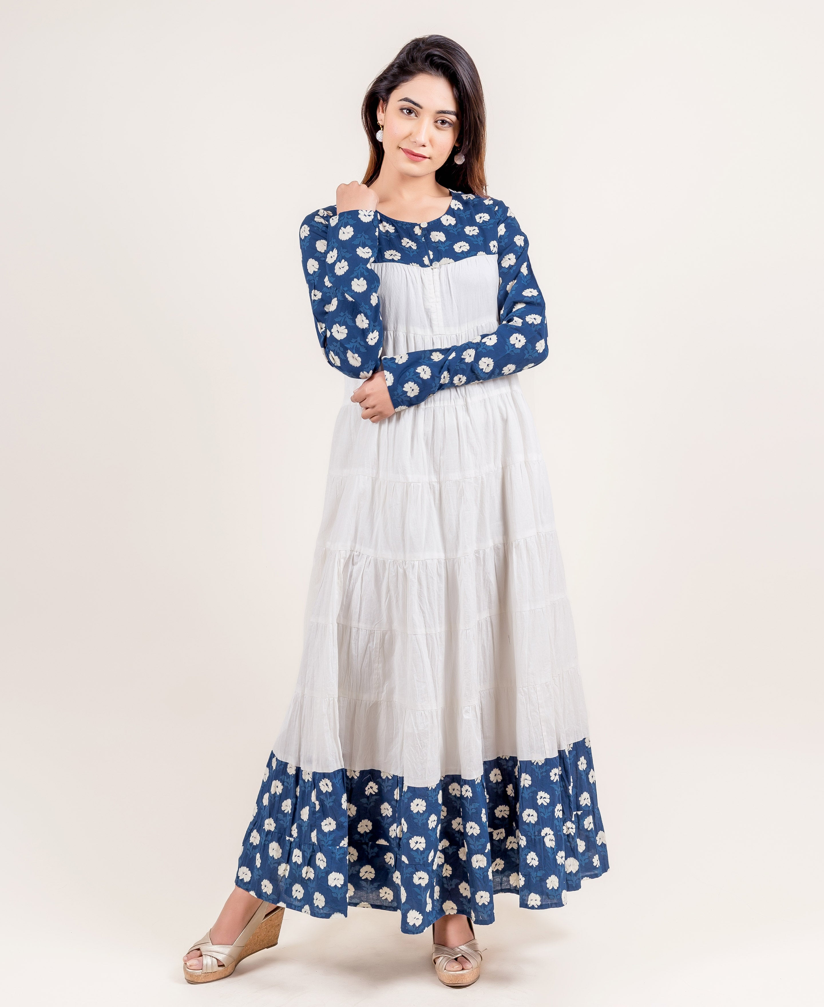 Charismatic Tiered Long Cotton Dress