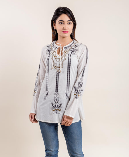 Black White Front Buttoned Floral Hand Block Printed Ethnic Kurti Top