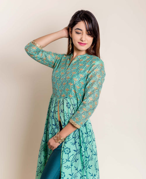 Green Hand Block Printed Indo Western Kurta with Pants