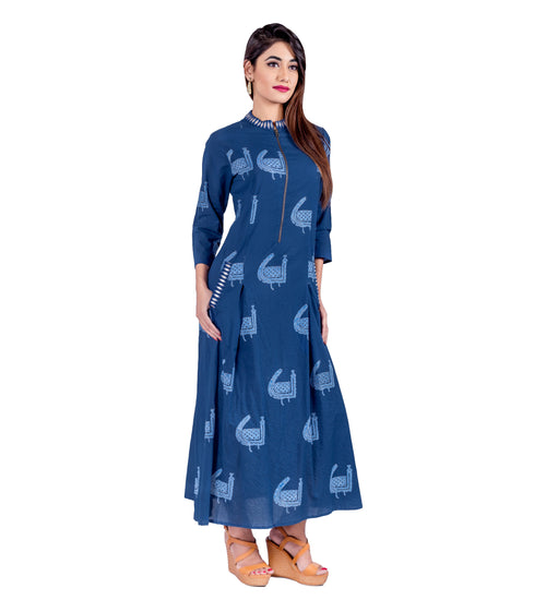 Indigo Embroidered Zipper Dress with Pocket