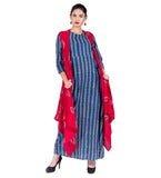 Blue Floral Striped Hand Block Print Gown with Red Shrug