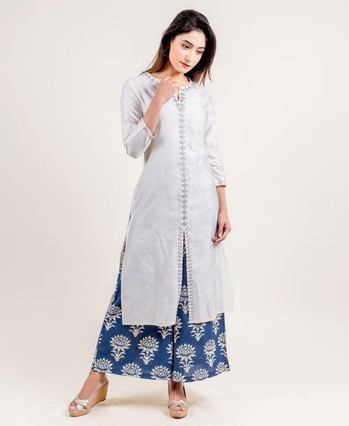 Split Neck Embroidered Chanderi Indo Western Kurta With Printed Palazzo