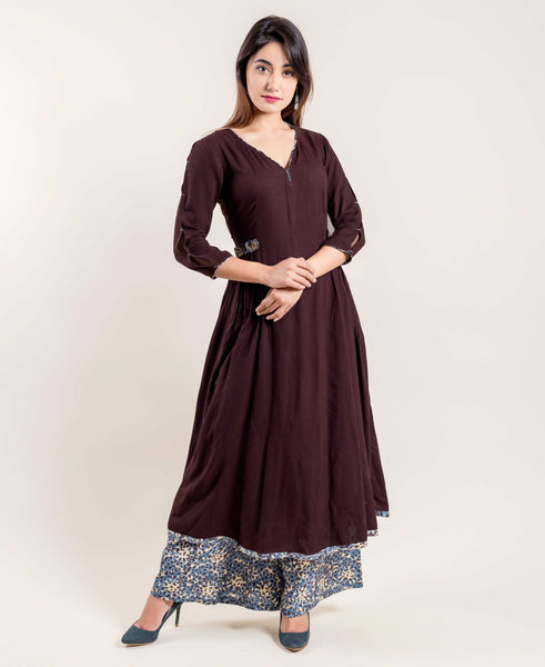 Solid Brown Flared Kurta with Printed Palazzo