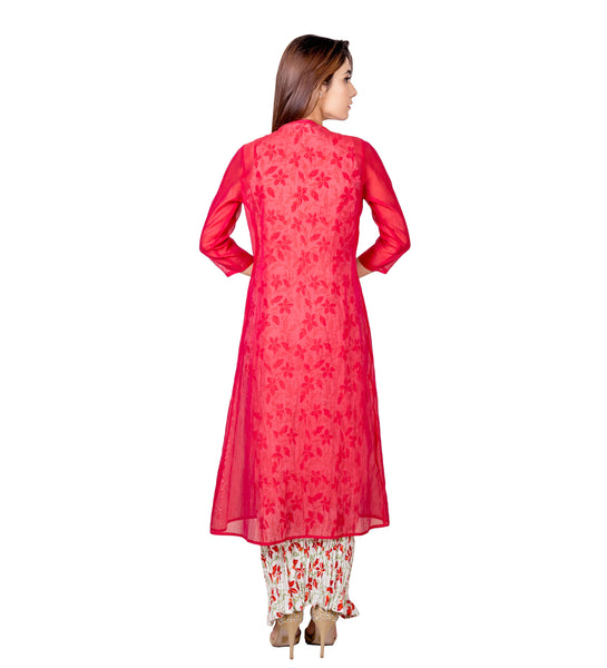 Red and White Long Indo Western Festive Kurta with Chanderi Jacket
