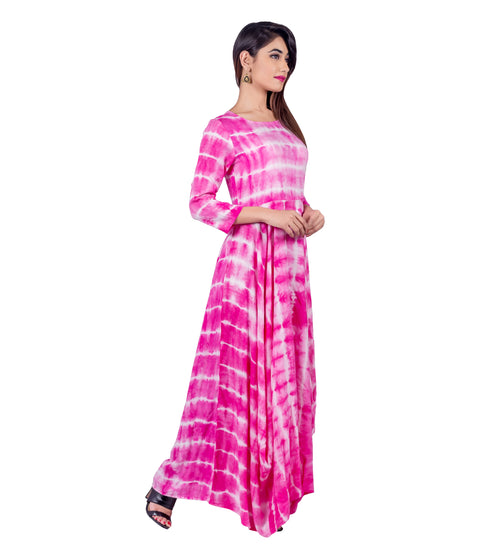Pink / White Tie and Dye Floor Length Indo Western Dress