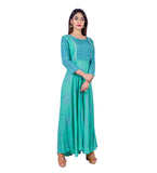 Teal Hand Block Printed Indo Western Dress with Chevron Front Panel and Sleeves