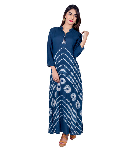 Blue Tie and Dye Indo Western Kurta Dress