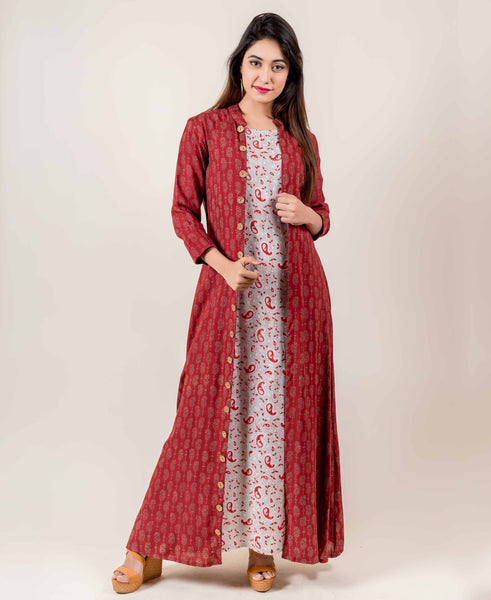Rust And Light Grey Jacket Style Indo Western Dress