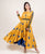 Opulent Yellow Asymmetrical Block Printed Long Gowns for Women Online