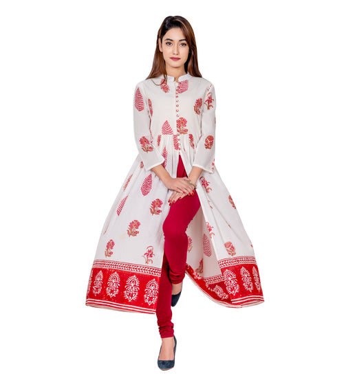 Off-white and Pink Hand Block Printed Cotton Cape Kurta