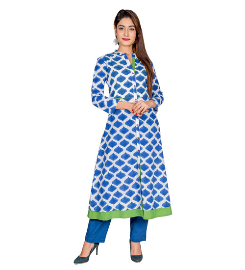 Blue Hand Block Printed Indo Western Kurta With Pants