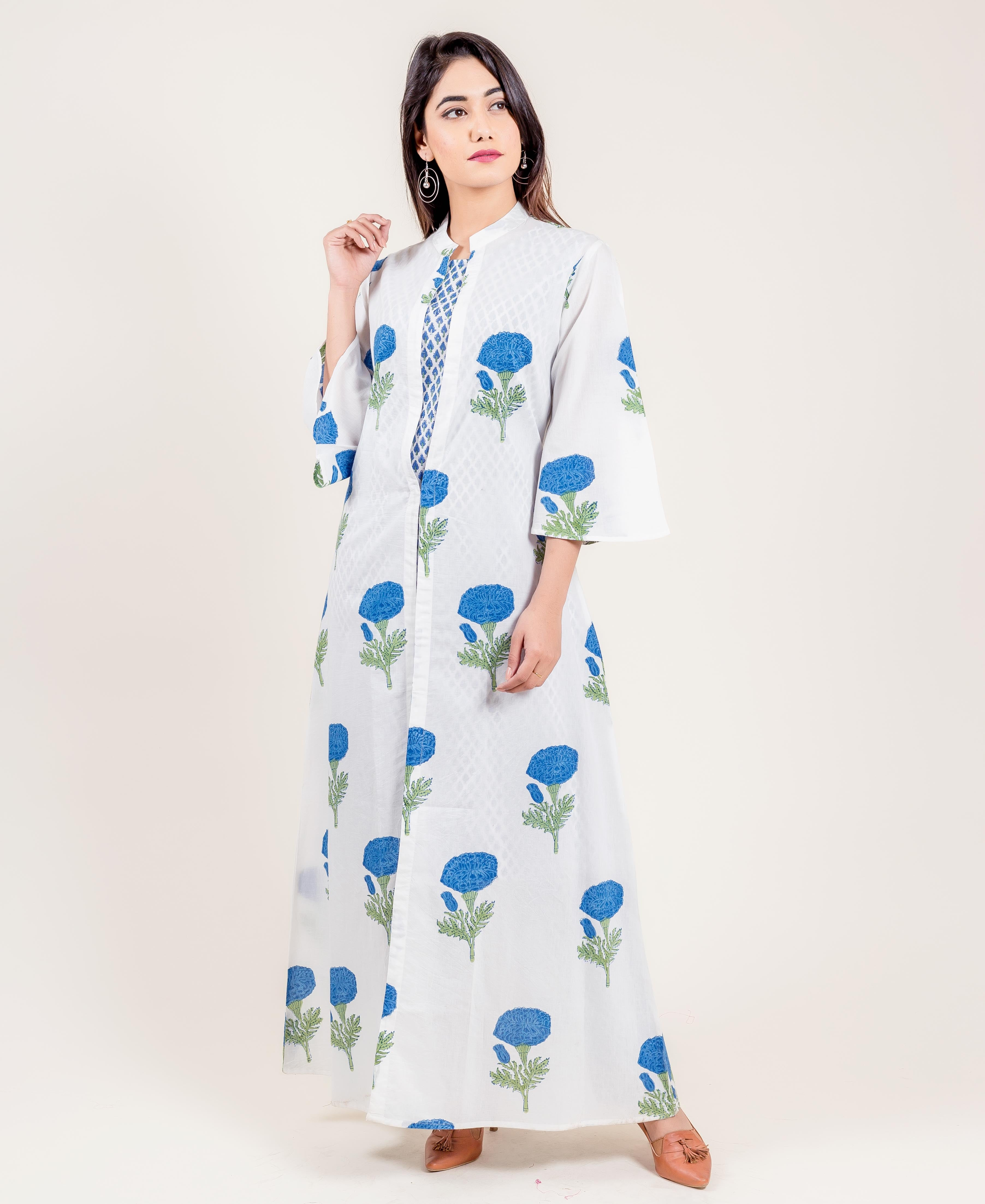 Layered Hand Block Printed White And Blue Cotton Suit Set