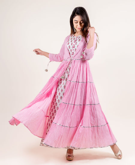 Indo Western Style 3 Piece Long Cotton Kurta Set with Ikat Jacket