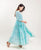 Aqua Cotton Tiered Indo Western Dress with Sleeveless inner