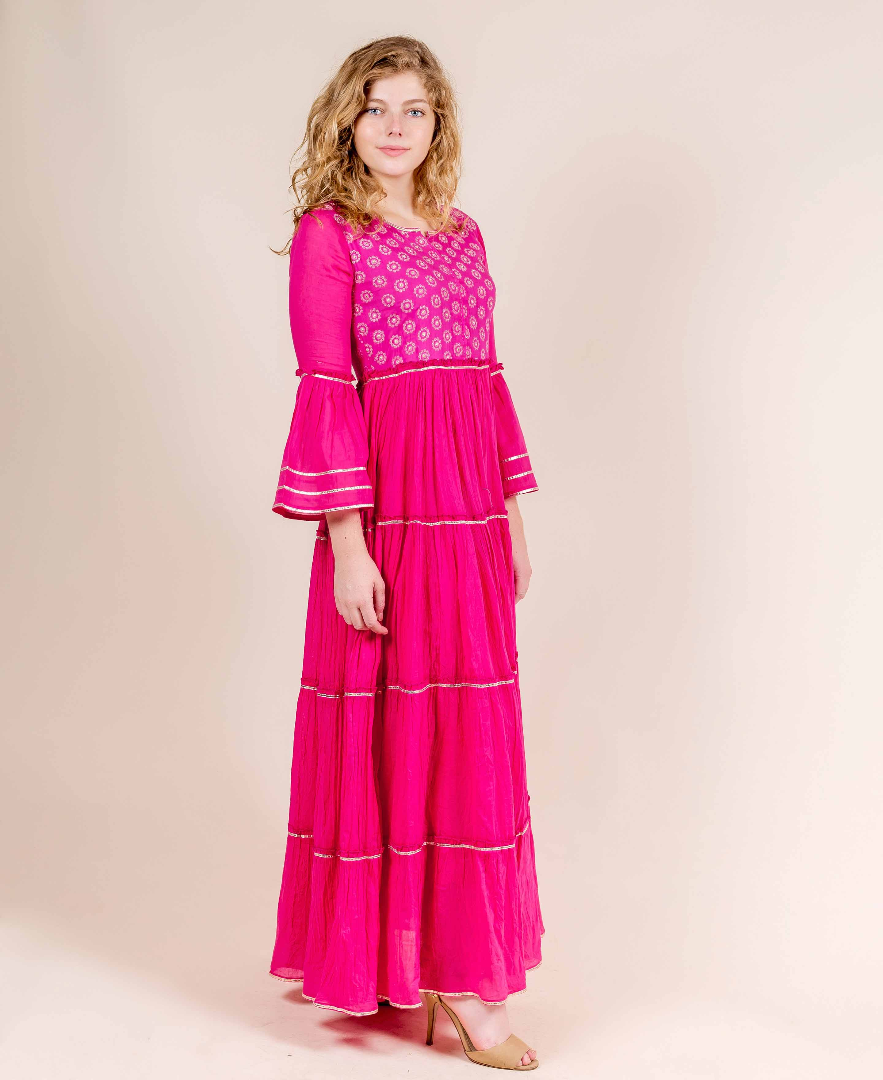 Full Bell Sleeves Cotton Printed Long Designer Dresses online shopping