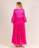 Fuchsia Full Bell Sleeves Cotton Printed Long designer women Gowns online