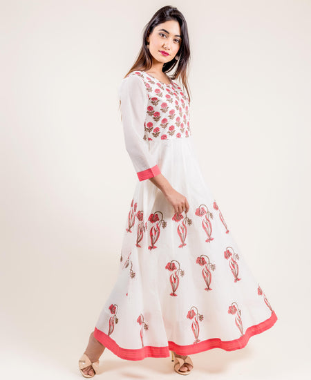White And Pink Cotton Placement Printed Long Dress