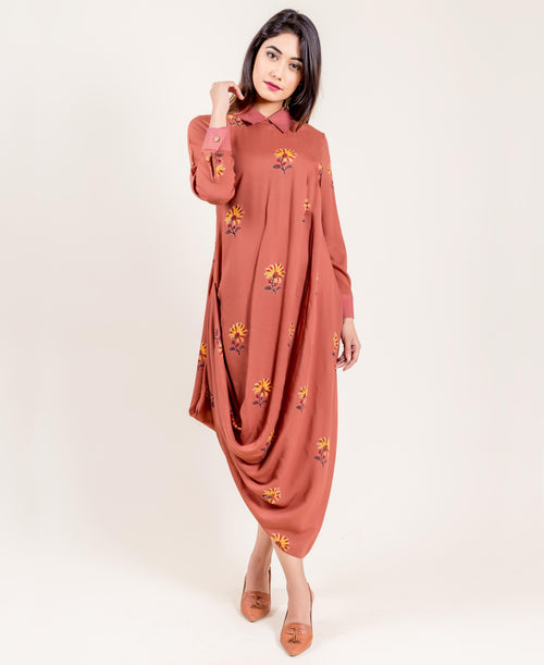 Modal Brown Printed Long Drape Dress