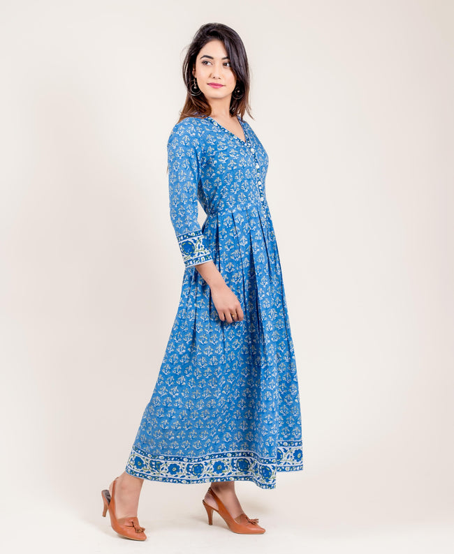 Hand Block Printed Long Designer Indo Western Dress for Women