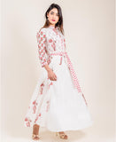 Printed Ivory Chanderi Jacketed Long Indo Western Dress