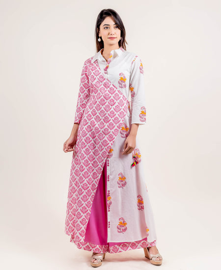 Pink Cotton Tasseled Angrakha Suit Set