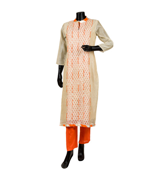 Beige and Orange Hand Block Printed Kurta