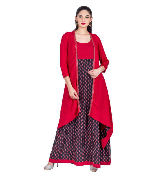 Red / Black Hand Block Printed Jacket Style Indo Western Dress with Pintuck Embroidery