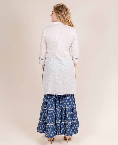 White Khadi Print Kurti With Palazzo online shopping for girls and ladies
