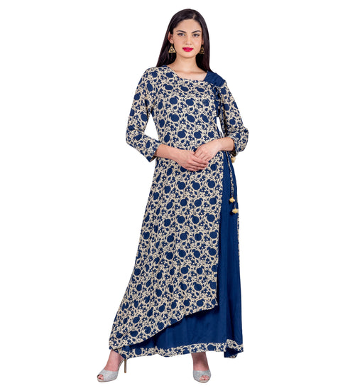 Indigo Angrakha Style Block Printed Calf Length Indo Western Gown