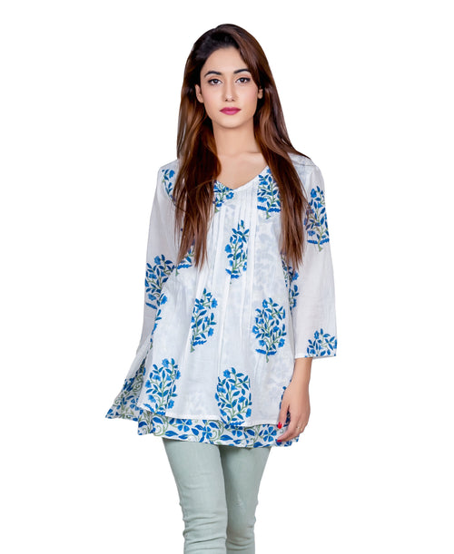 White And Blue Layered Hand Block Printed Short Kurti  Top