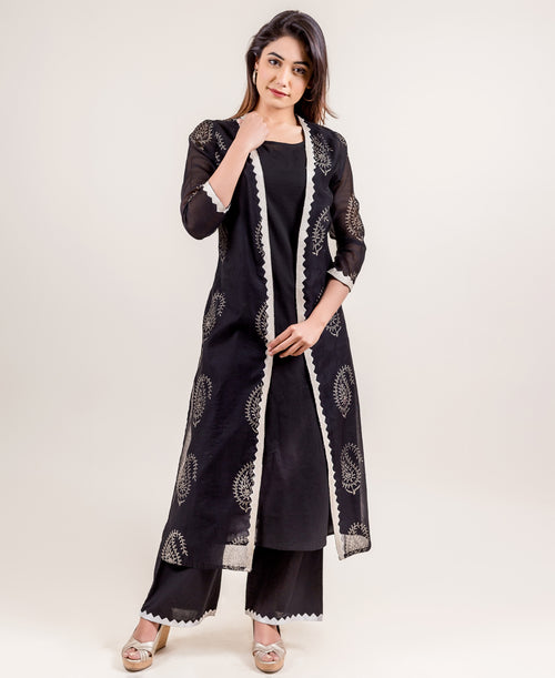 Empire Cut Jacket Style Multi Layered Indo Western Dress with Pants