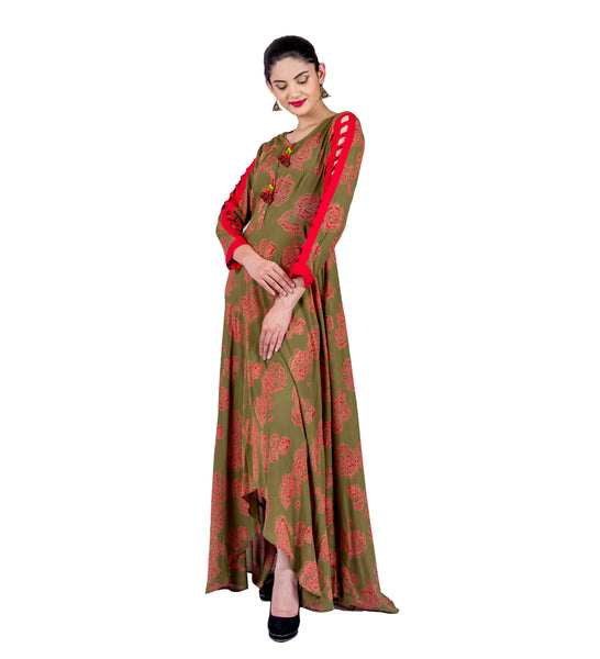 Olive / Rust Hand Block Print Floor Length Indo Western Dress