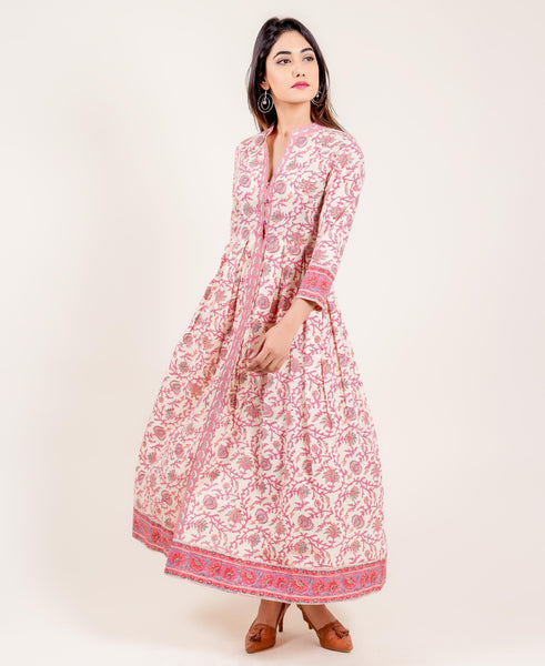 Pink And White Long Hand Block Printed Dress
