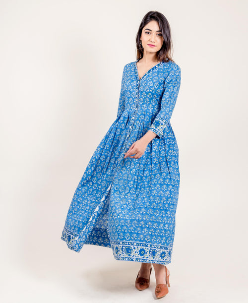 Hand Block Printed Quarter Sleeves Long Cotton Maxi Dress