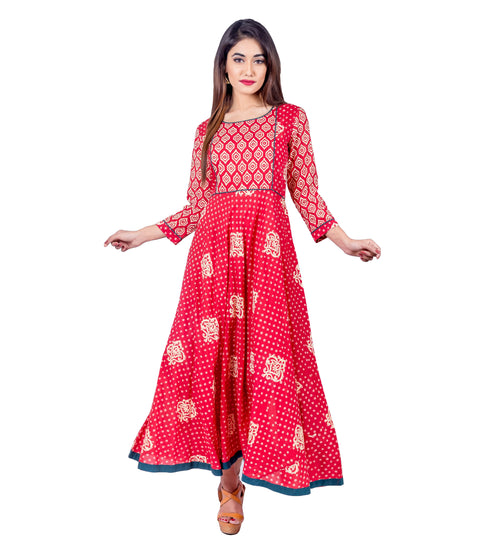 Red Flare Hand Block Print Indo Western Dress