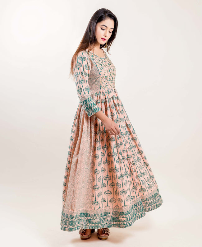 embroidered indo western style long designer anarkali dresses for women