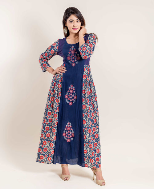 Hand Block Print Embroidered Indo Western Dress
