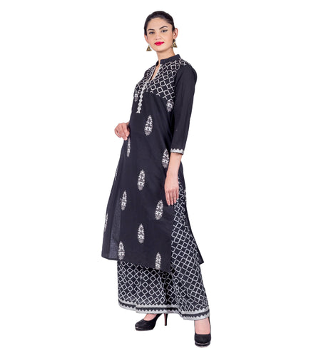 Indigo Short Frill Kurta with Tiered Sharara