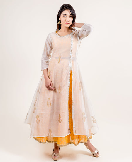 Pink Angrakha Style Chanderi Hand Block Printed Dress
