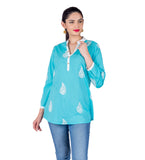 Aqua Blue White Coconut Buttoned Up Printed Ethnic Short Kurti