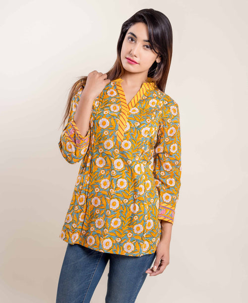 Yellow Blue Front Hooked Floral Hand Block Printed Ethnic Short Kurti