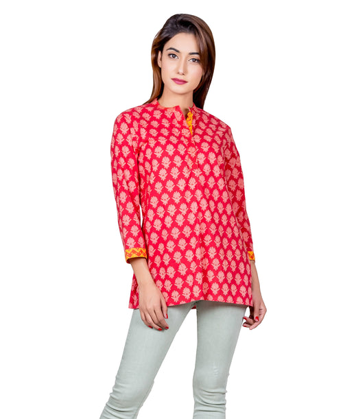 Peach And Yellow Hand Block Printed Short Kurti