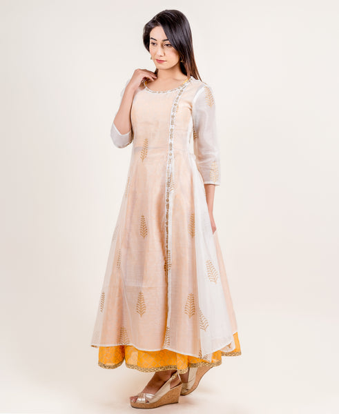 Luxury 3 Piece Kurti with skirt and White Jacket online for women