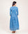 floor length indigo blue cotton printed dress online