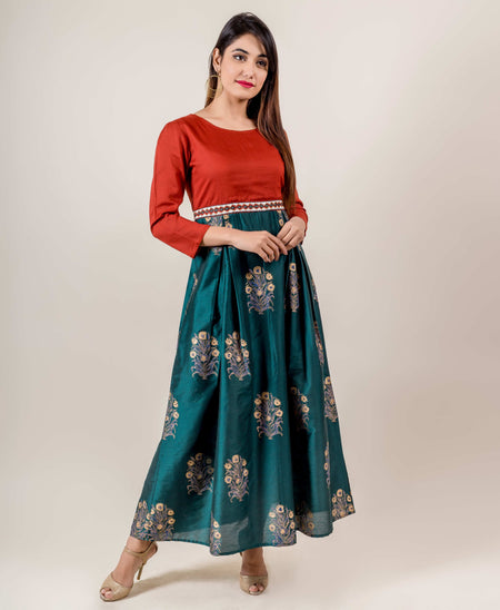 Embroidered Maroon Anarkali Style Floor Length Gown